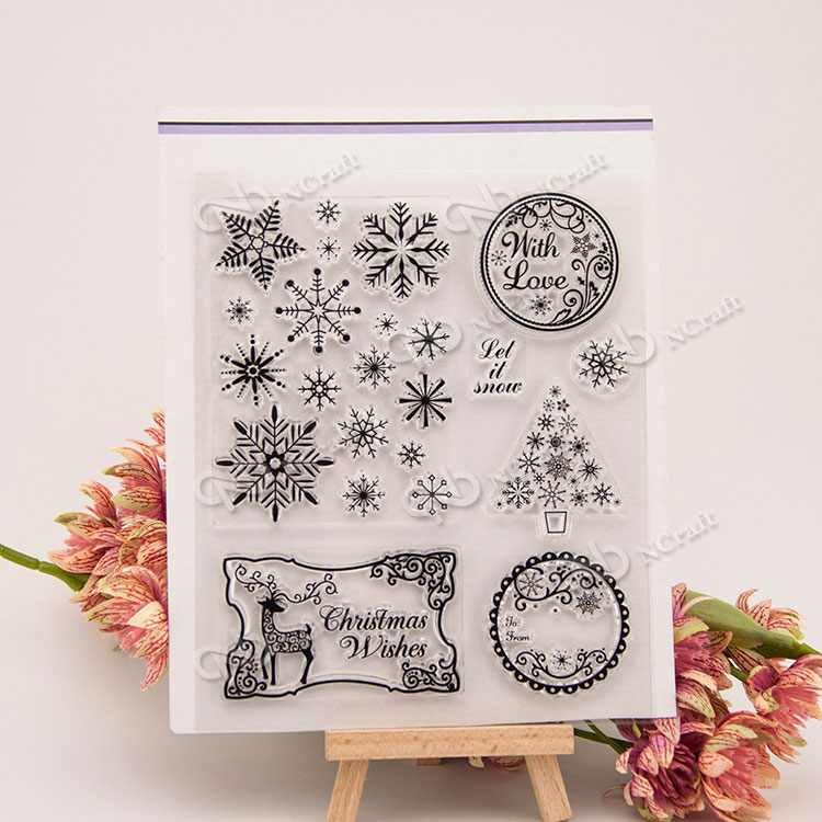 snowflake Transparent Clear Silicone Stamp/Seal for DIY scrapbooking/photo album Decorative clear stamp sheets A254 lovely animals and ballon design transparent clear silicone stamp for diy scrapbooking photo album clear stamp cl 278