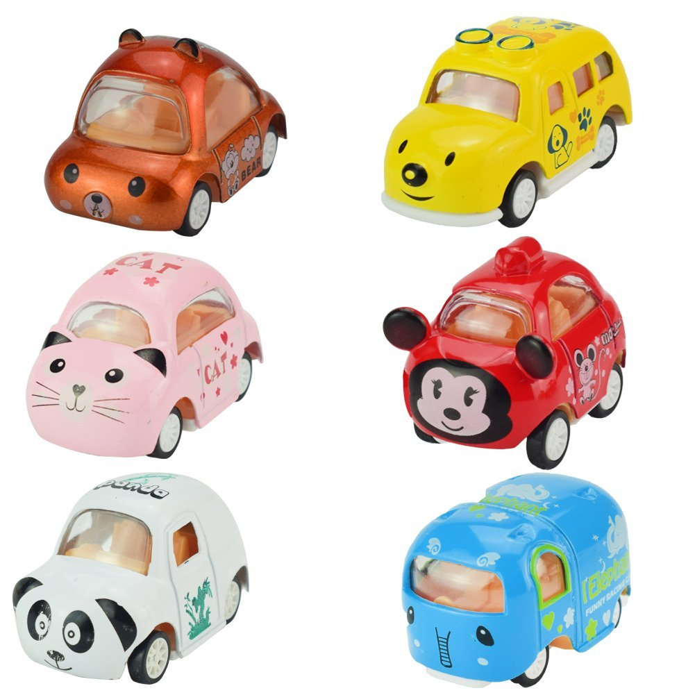 Feichao Alloy Die-cast 1:64 Carton Animal Mini Truck Toys Pull Back Vehicles 6 Pieces Assorted Cars Play Set for Kids Gifts