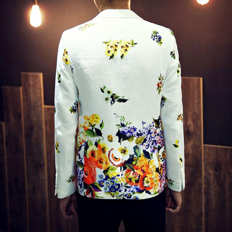 2017 Mens Floral Blazer Masculino 2016 Winter Gentleman Suit Small Fresh Slim Jacket Jacquard Play Men Blazer Hombre 72301