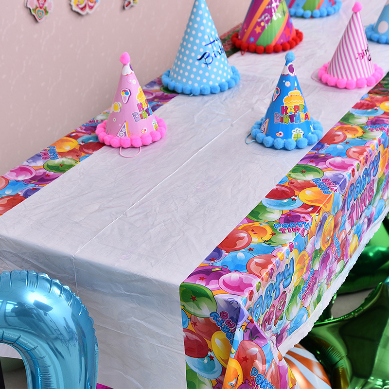 1PC 108*180cm Disposable Cute Cartoon Tablecloth Children Kids Birthday  Party Decoration Plastic Table Cloth