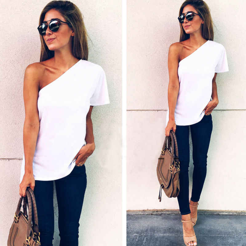 1c9e66350eb 2018 Summer New arrival Women Casual One Shoulder T-Shirts Tops Ladies  Slash Neck Chiffon