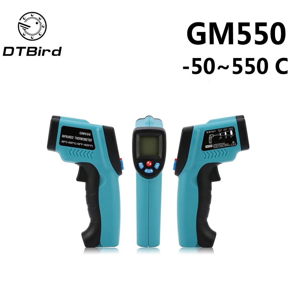 GM550-50 ~ 550 C Digitale LCD Termometro a infrarossi Temperatura laser Gun Pirometro Acquario Emissività Regolabile diagnostico-strumenti