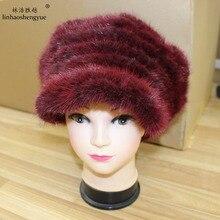Linhaoshengyue Реальное качество меха норки женщины шапка меховая шапка тепло зимой