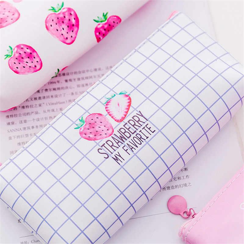 Kawaii สตรอเบอร์รี่ดินสอสำหรับโรงเรียนหญิง Pencilcase น่ารักเกาหลี PU Penal ปากกากระเป๋าขนาดใหญ่ Penalties เครื่องเขียนกล่องกระเป๋า