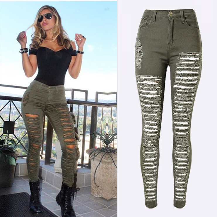Fashion Army <font><b>Green</b></font>/Black/White Sexy Ripped <font><b>Jeans</b></font> Women Plus Size Distressed High Waist <font><b>Jeans</b></font> Ladies Skinny <font><b>Jean</b></font> Taille Haute