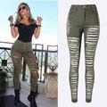 Moda Exército Verde/Preto/Branco Sexy Rasgado calças de Brim Das Mulheres Plus Size Cintura Alta Angustiado Jeans Skinny Ladies Jean Taille Haute