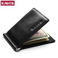 KAVIS Genuine Leather Money Clip Brand Slim Men Women Bifold Male Purse Billfold Wallet Female Clamp