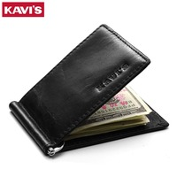 KAVIS Genuine Leather Money Clip Brand Slim Men Women Bifold Male Purse Billfold Wallet Female Clamp