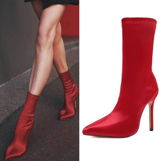0a3c75dfc749 EOEODOIT Spring New Arrival Boots Fashion Stiletto Heels Lycra Sock Boots  Shoes Women High Heel Pointed Toe Silk Feeling Pumps