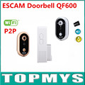 Free shipping 2016 Newest ESCAM Doorbell QF600 Wifi DoorBell P2P indoor Surveillance Night Vision Security with TF SD Card