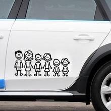 Ar סטיילינג Custom בן משפחה אבא אמא בת בן כלב ענפים ארוך מדבקות רכב מקל דמות DIY דבק חלון רכב מדבקה