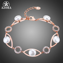 AZORA Pearl Eye Luxury Rose Gold Color Chain Link Bracelet for Women Ladies Shining Clear Austrian Crystals Jewelry TS0192(China)