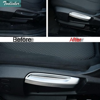 Tonlinker 2 PCS Car Styling DIY ABS Chrome Seat Backrest Adjustment Light Strip Cover Case Stickers for Bmw 2 Series 218i 2014