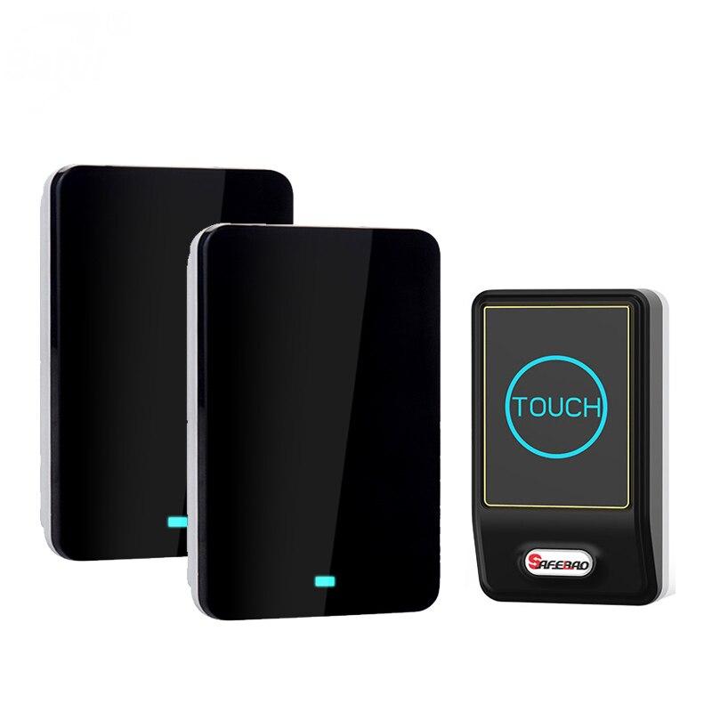 Waterproof Wireless Door Bell AC220V 28 Melody Easy Set Up Home DoorBells With 1/2 Push Button +1/2 Indoor Doorbell Receivers