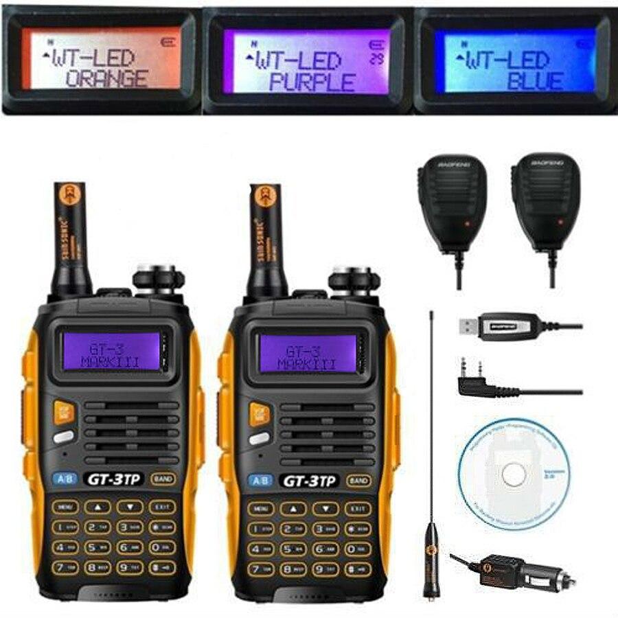 2 pcs Baofeng GT-3TP MarkIII VHF/UHF Poder Tri Presunto Dual Band de Longo Alcance Walkie Talkie Rádio em Dois sentidos com 2x Speaker 1x Cabo FM