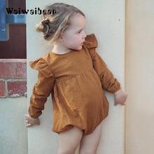 Waiwaibear Newborn Baby Girls Rompers Long-sleeved  Solid Jumpsuit Kids Costumes K606