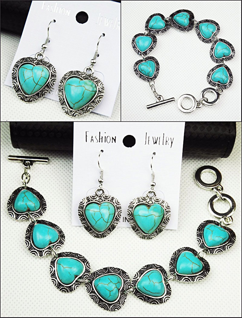 Big Promotion 2pcs Vintage Antique Tibetan Silver Heart Natural Stone Earrings Bracelet Women Jewelry Set A-349