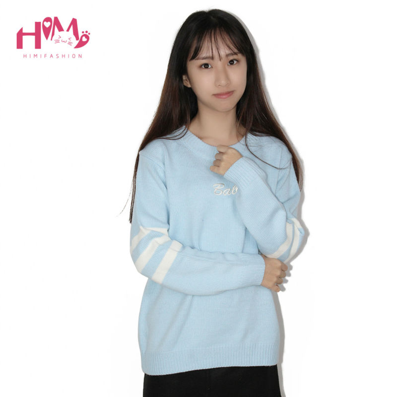 Baby Blue Baby Pink Knitted Sweater Winter Women Shirt Hot Korea Japanese Fashion  5