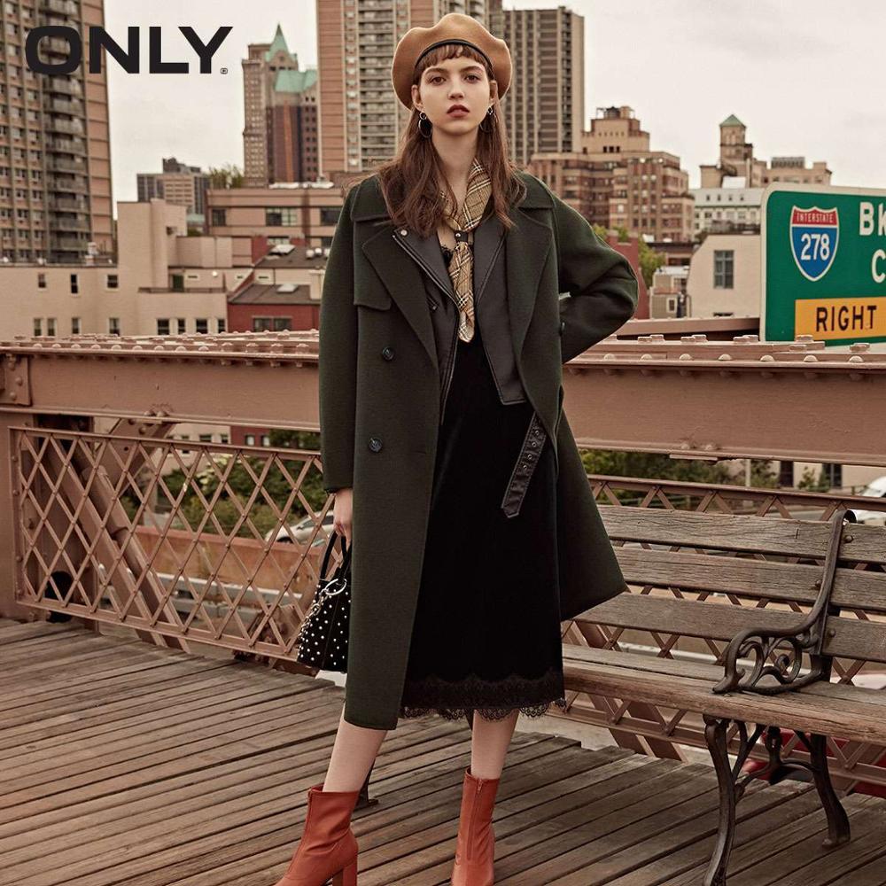 SÓ mulheres inverno nova lã tie-up botão casaco de lã simples Tie-up cinto Texturizado | 11834S533