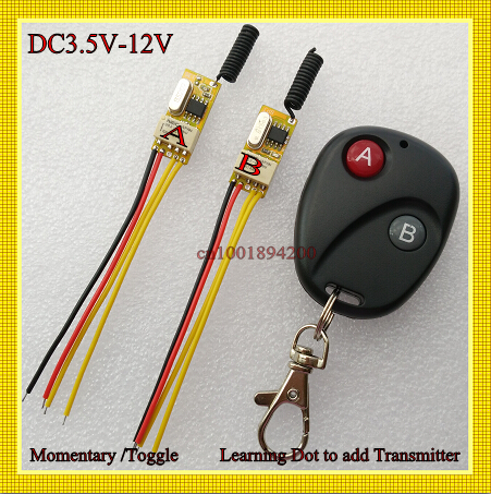 Button Wireless Switch Circuit Remote Control Switch 3.7V 4.5V 5V 6V 7.4V 9V 12V Small RF Controller Momentary Toggle NC NO COM 30pcs lot toggle switch with mounting hole 2 stalls circuit components diy model parts small toy switches