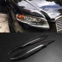 Carbon Fiber Headlight Cover Eyebrows Eyelid Trim Sticker For Audi A4 B7
