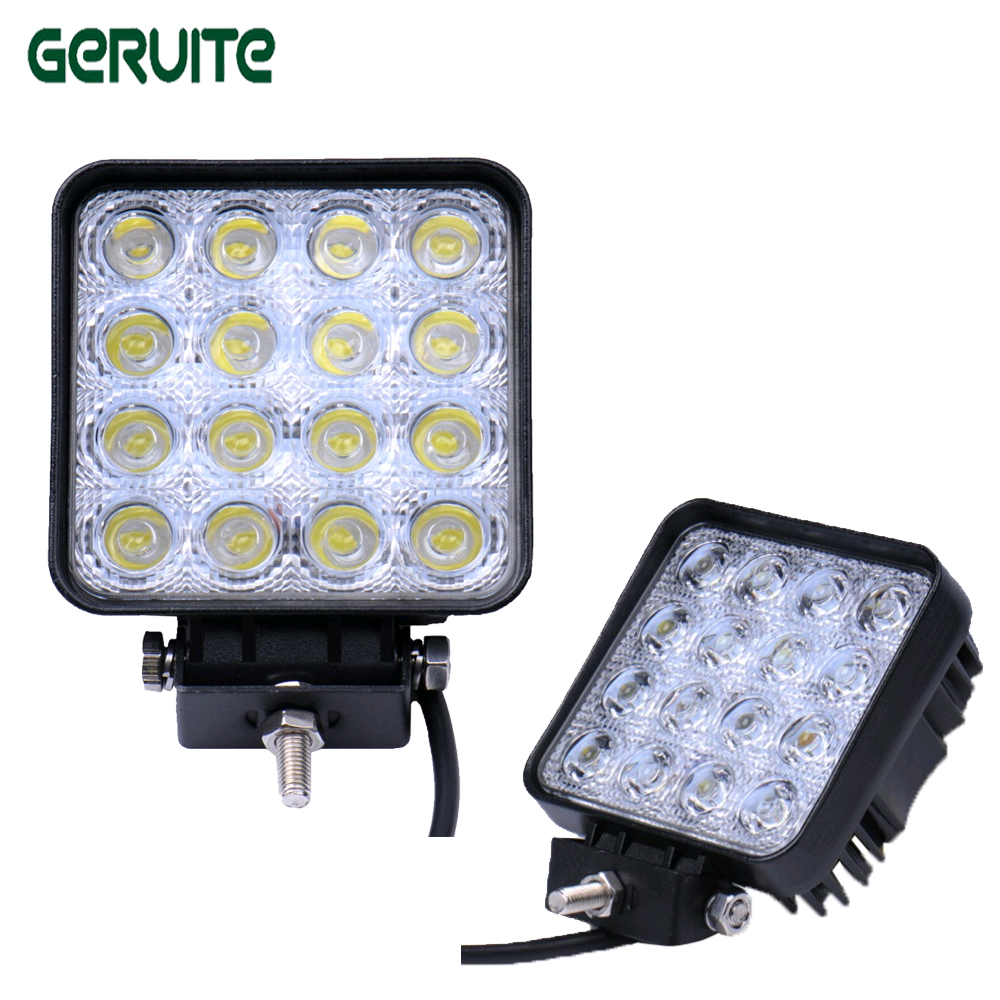 1Pcs 16*3W LED 48W 6000K Truck Car Led Working/Driving Light Fog Lamp Bulb for Jeep SUV ATV Waterproof IP 67 DC12-24V