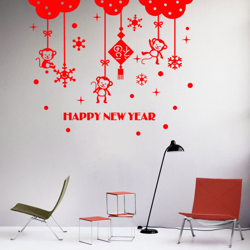 Lunar new year wall stickers chinese traditonal spring for Home decorations for new year