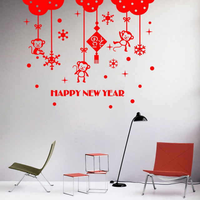 lunar new year wall stickers chinese traditonal spring festival wall