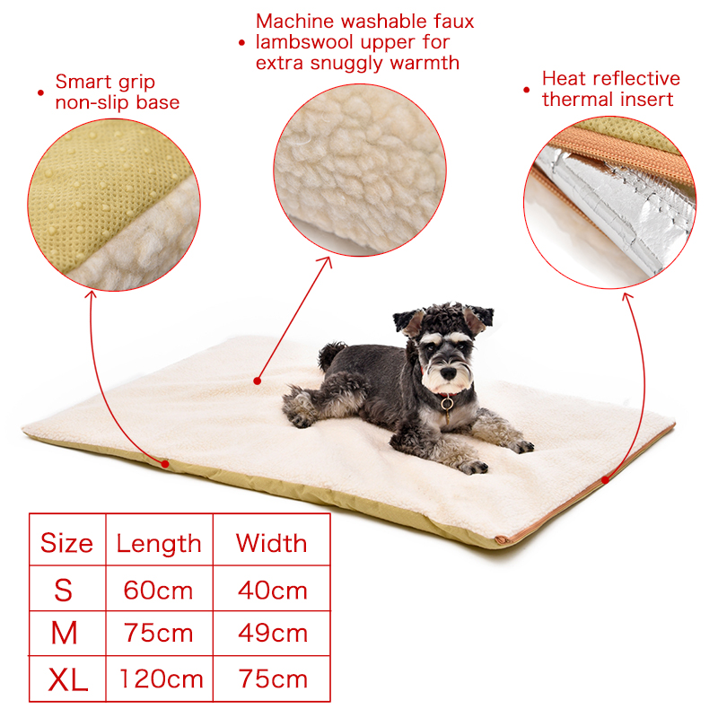 Pet Oppvarming Bed Produkt For Animal Beige Varm Stor Hund Pute Med Glidelås Vaskbar Puppy Mat Pet House 3 Størrelser Faux Lambswool