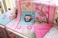 Promoção! 7 PCS do bebê jogo do fundamento do bordado 3D elefante pássaro berço cama conjunto, Incluem ( bumper + tampa + cama edredão + cama saia )