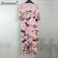 Высокое качество шелковое платье летние цветочные вышивки короткий рукав Элегантные рыбы Платье с принтом Для женщин миди платья розовый
