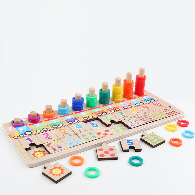 Baby Wooden Toys Montessori Counting Digital Cognition Match Jigsaw Puzzle Educational Toys Wooden Puzzle Game Toys For Children