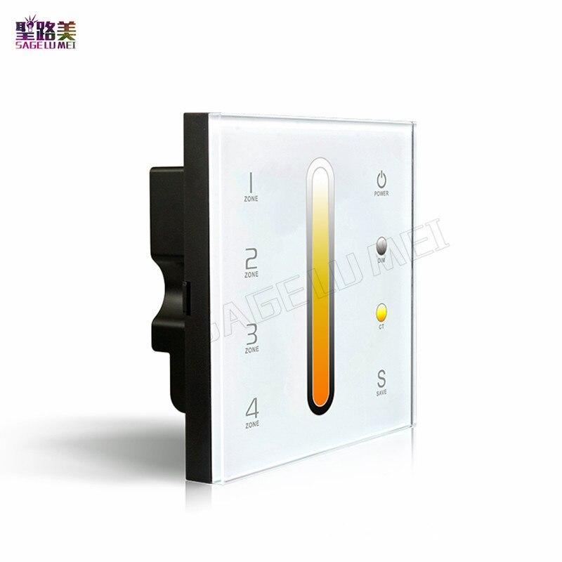 Alta calidad ltech DX6 táctil LED temperatura de color controlador AC100V-240V LED DMX512 2.4g RF 4 zonas panel de control dimmer