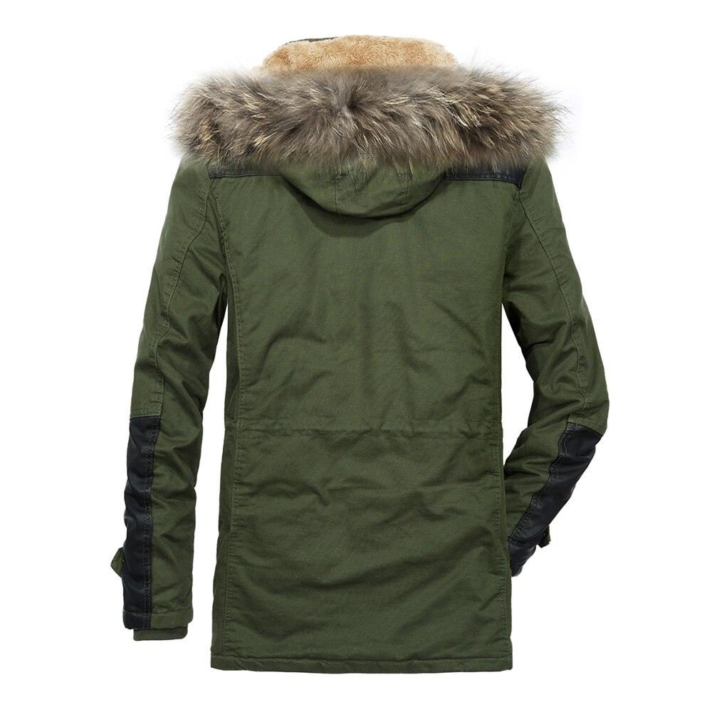 Long Fourrure Green Manteau Noir Hommes Coton sjlr63 Veste Chaud Casual Moyen vent Épais Parka Trench Hiver Yihuahoo Capuche Coupe Job De army KTl1JFc