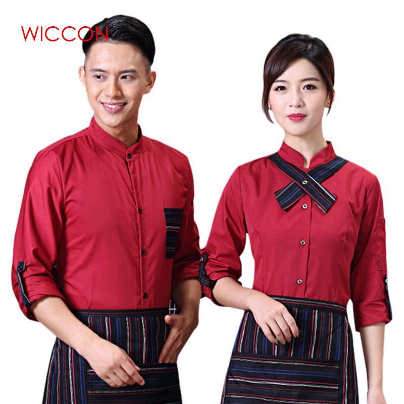 WICCON Shirt And Apron Hotel Restaurant Waiter Uniform Coffee Shop Waiter Shirt Sets Waitress Uniforms Long Sleeve Work Clothes