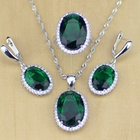 Green Emerald White Topaz 925 Sterling Silver Jewelry Sets For Women Wedding Earrings Pendant Necklace