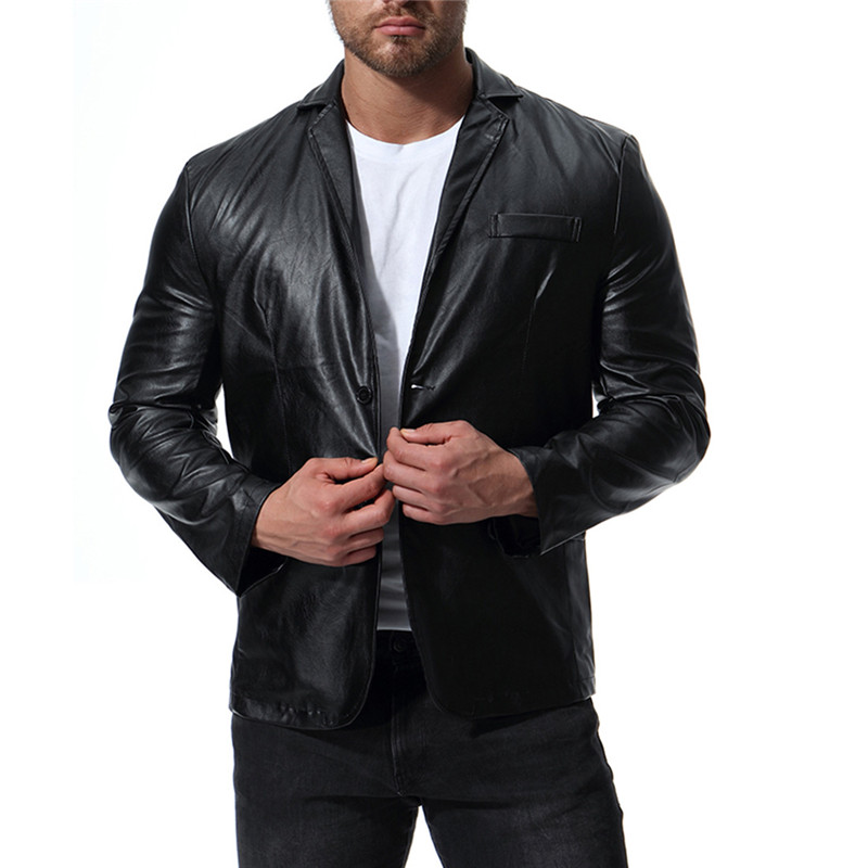 2018 autumn winter new men's british style PU leather jacket fashin men motorcycle leather jacket clothing M 5XL-in Jackets from Men's Clothing    1