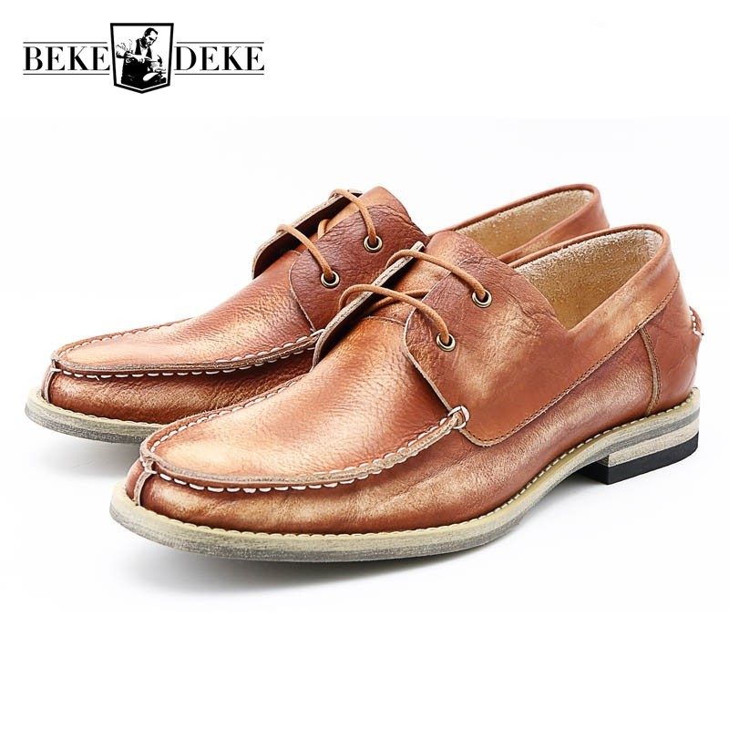 2017 New Breathable Mens Casual Shoes Real Cow Leather British Man Footwear Retro Chaussure Homme Lace Up Low Heel Pumps Zapatos 2017 new chaussure homme mens shoes casual leather vulcanize hip hop white men platform summer hot sale breathable black shoes