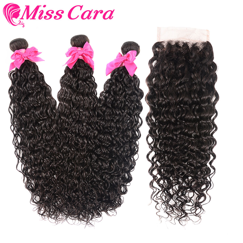 Malaysian Water Wave With Closure 100 Human Hair 3 4 Bundles With Closure Middle Free Part