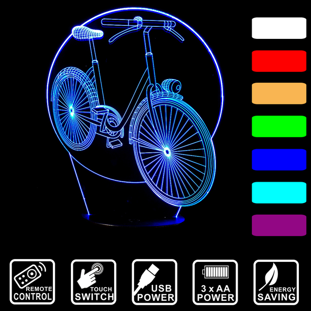 Acryl 7 Farbwechsel 3D LED nachtlicht Fahrrad Form Tisch lampe ...