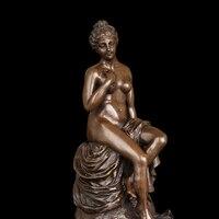 Atlie бронзы чистый бронзовая скульптура Западной Обнаженная толстуха сидит женщина фигурки статуи Эротические для продаж
