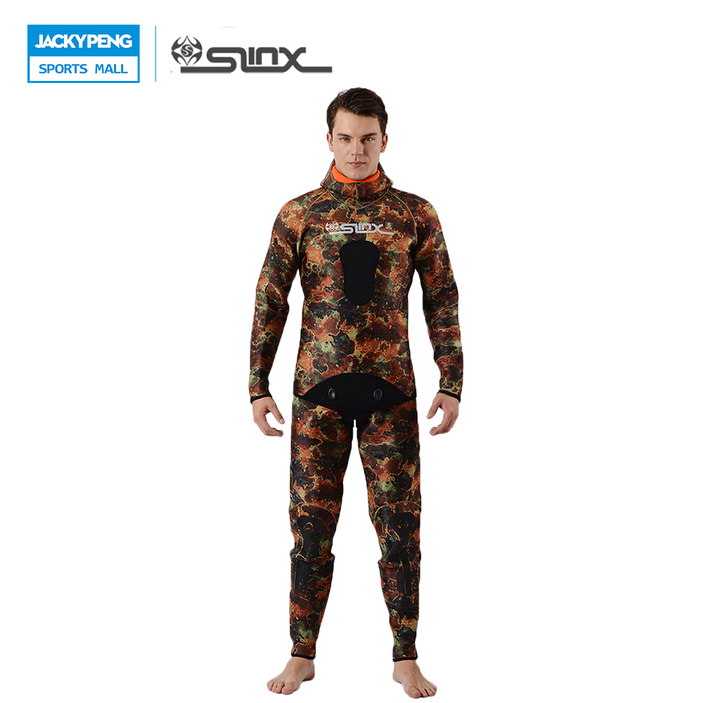 SLINX 2018 Diving Equipment 5mm Neoprene Men Camouflage Spearfishing Swimwear Wetsuit Hooded Two Pieces Scuba Diving Suit