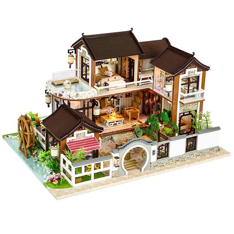 CUTEBEE кукольный дом Миниатюрный DIY кукольный домик с деревянная мебель для дома Счетный двор Dweling игрушки для детей подарок на день рождения 13848