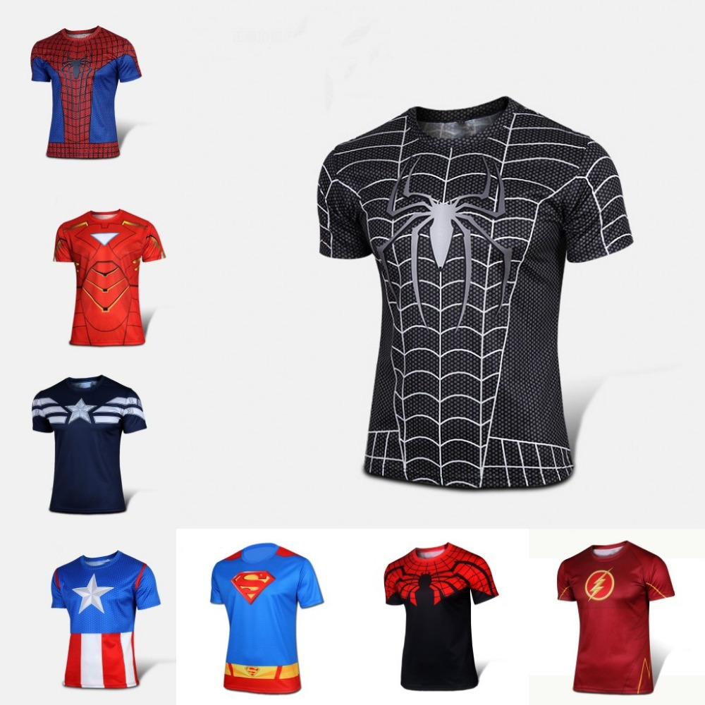 shirt superman batman spider man captain america hulk iron man t. Black Bedroom Furniture Sets. Home Design Ideas