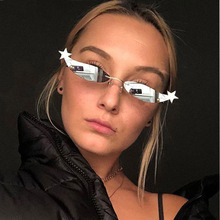 YUMOMO Brand Designer Cat Eye Small Sunglasses Men Women Frameless Star Personality Fashion Shades UV400 Vintage Glasses Eyewear