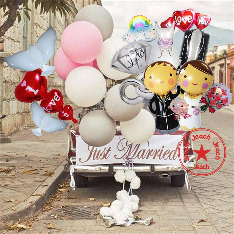 balloons wedding party supplies ballons balls baloon love diamond ring heart balloon pigeon groom bride wedding balloons ...