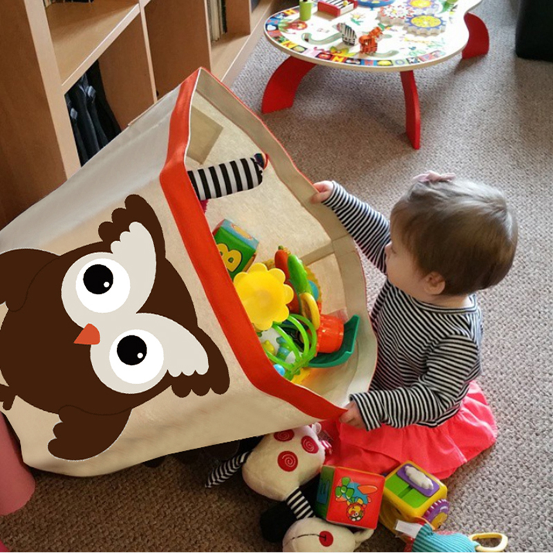 Square Collapsible Canvas Storage Box Foldable Kids Toys: Children Cartoon Storage Bucket Dirty Clothes Bag Large