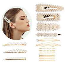 3 Pcs /lot Pearl Beads Barrettes Hair Clip Jewelry Korean Style Gold Color Pin Stick Wholesale Women Accessories