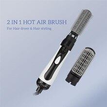 2in1 elektrikli saç düzleştirici sıcak hava saç kurutma makinesi fırçası değiştirilebilir saç bigudi tarak doğrultma ısıtmalı tarak saç bakımı 31
