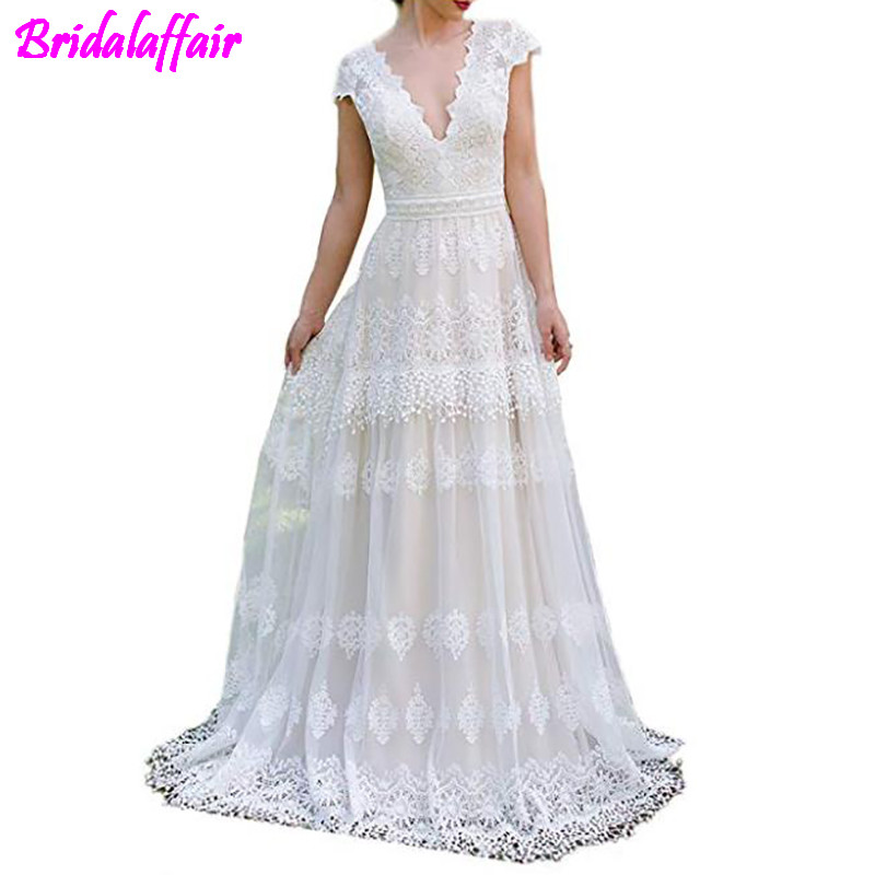 Womens V-Neck Boho Wedding Dresses Lace Bridal Gowns V neck wedding dress 2019 princess estido de Bride Gown